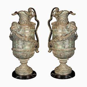 Große Renaissance Bronze Vasen oder Vasen, 2er Set