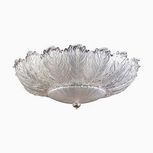 Italian Murano Glass Ice Leaves Ceiling Light or Flush Mount, 1970