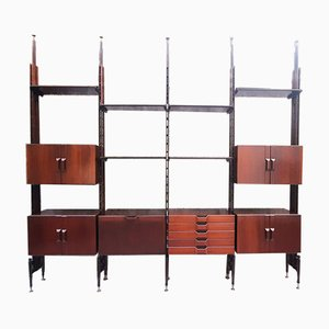 Large Modular Rosewood Shelving Unit in the Style of Franco Albini, Italy, 1960s