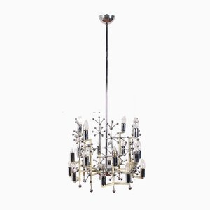 Mid-Century Metal and Chrome Steel Chandelier from Stilnovo, Italy, 1960s