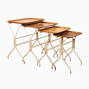 White Painted Metal Frame Nesting Tables with Birch Trays by Lena Larsson for Nordiska, Set of 3