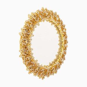 Beleuchteter Spiegel aus Vergoldetem Messing und Kristallglas von Palwa, Deutschland