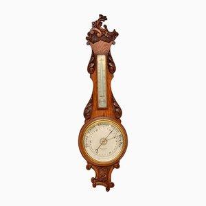 Antique Victorian Carved Oak Banjo Barometer from Maple & Co