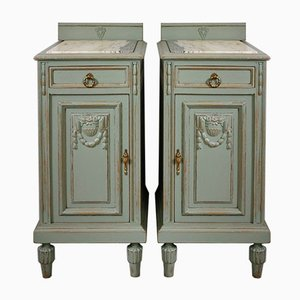 Antique French Nightstands with Marble Top, 1900s, Set of 2