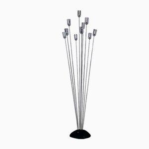 Italienische Metall Stehlampe mit 10 Stahlstäben, 1970er