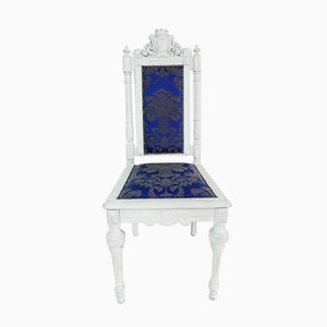 Antique White Baroque Chair with Wooden Portal, Germany, 1890s