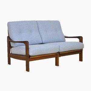 Blaues 2-Sitzer Teak Sofa, 1960er