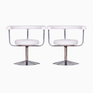 White Leather Swivel Chairs, 1940s, Set of 2