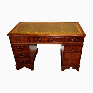 Mahagoni Furnier Schreibtisch mit grüner Tischplatte, 1960er