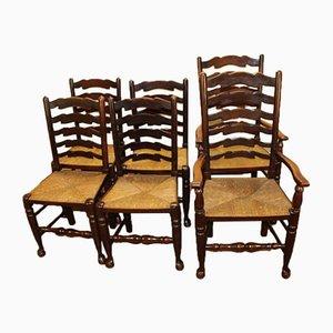 Esszimmerstühle aus Eiche mit Sprossenlehnen und geflochtenen Sitzen, 1940er, 6er Set