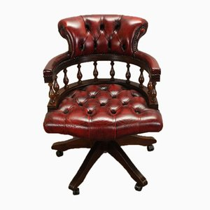 1960s Leather Swivel Office Chair in Oxblood Red