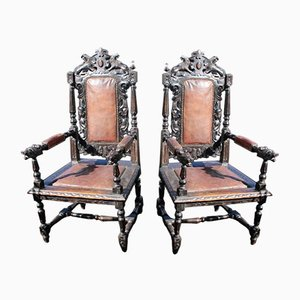 Continental Oak Carved Armchairs, 1900s, Set of 2