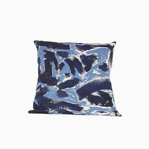 Coussin Bicolore Peint Bleu par Naomi Clark pour Fort Makers