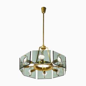 Brass & Smoked Glass 8-Light by Gino Paroldo for Dino Dei, 1960s
