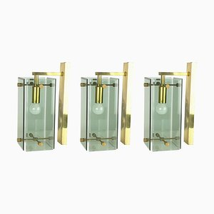 Mid-Century Italian Brass and Smoked Glass Sconces from Cristal Art, Set of 3
