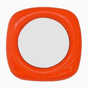Italienischer orangefarbener italienischer Spiegel mit Rahmen aus Kunststoff, 1970er