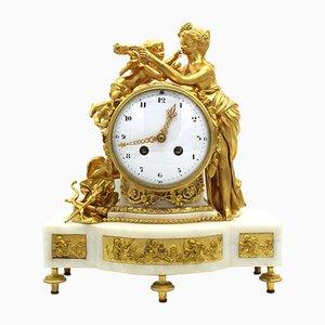 Napoleon III Pendulum Clock in Gilt Bronze and Marble, 19th-Century