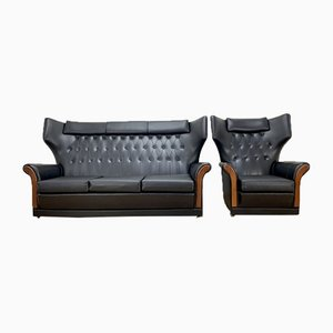 Mid-Century Settee and Chair, Set of 2