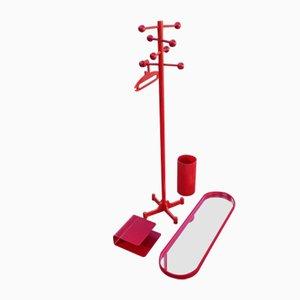 Flur Garderobe mit Spiegel, Ablage und Schirmständer in Rot, 1970er, 4er Set