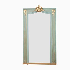 Louis XV Style Mirror in Golden Wood and Lacquered