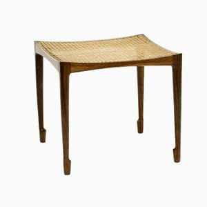 Danish Rosewood and Rattan Stool by Bernt Petersen for Henrik Wørts Møbelsnedkeri, 1958