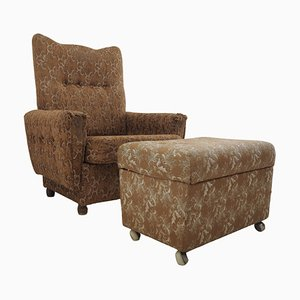 Armchair with Footstool, 1960s, Set of 2