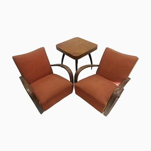 Armchairs + Spider Table by Halabala for Thonet, Czechoslovakia, 1930s, Set of 3