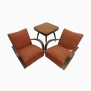 Armlehnstühle + Spider Tisch von Halabala für Thonet, Tschechoslowakei, 1930er, 3er Set