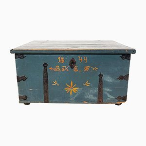 Antique Swedish Hand Painted Marriage Chest, 1844