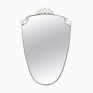 Mid-Century Italian Wall Mirror with Brass Frame by Gio Ponti, 1950s