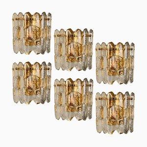 Palazzo Wandlampe aus vergoldetem Messing & Glas von JT Kalmar