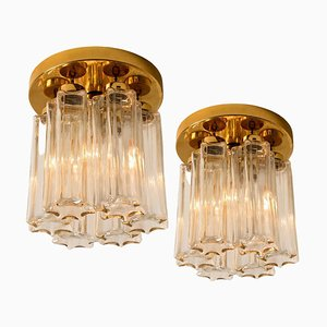 Brass and Glass Lights Fixtures from Limburg Glashütte, 1970, Set of 2
