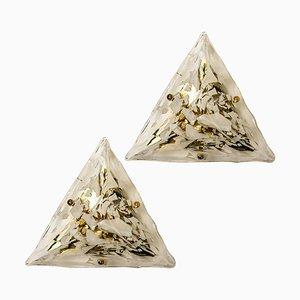 Gold-Plated Piramide Flush Mounts, 1970s, Italy, Set of 2