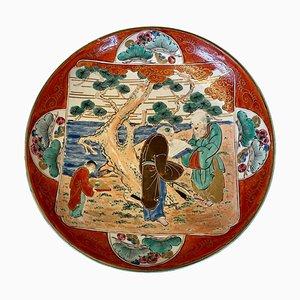 Antike japanische handbemalte flache Schale