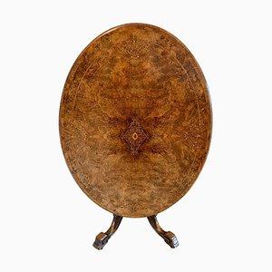 Antique Victorian Inlaid Burr Walnut Centre Table