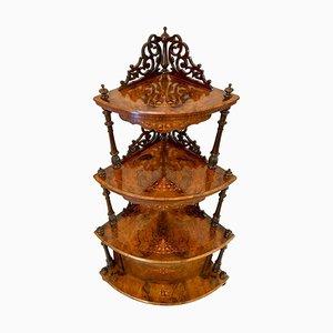 Antikes viktorianisches Eckregal aus Nusswurzelholz mit Intarsien