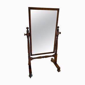 Antiker viktorianischer Cheval Spiegel aus Mahagoni