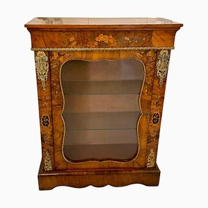 Antique Victorian Burr Walnut Floral Marquetry Inlaid Display Cabinet