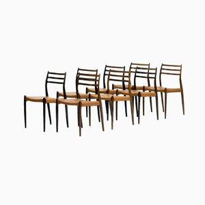 Dänische Palisander Esszimmerstühle von Niels O. Møller für J.L Møllers, 8er Set