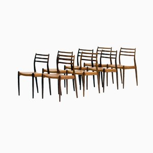 Danish Rosewood Dining Chairs by Niels O. Møller for J.L Møllers, Set of 8