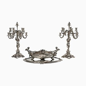 Candelabra Set in Silver-Plated Bronze, Set of 4