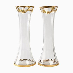 Gilt Brass and Crystal Vases, Set of 2