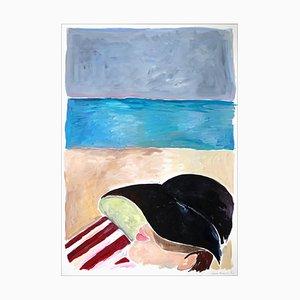 Pisolino sulla spiaggia con Rothko, pittura figurativa in acrilico, ritratto in stile Regency, 2021