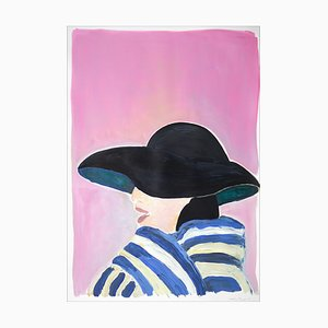 Figurine Fifties Fashion Rose, Portrait de Femme Regency, Dior Inspiration, 2021