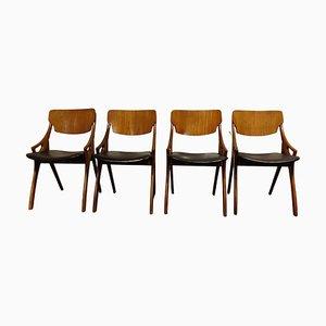 Teak Esszimmerstühle von Hovmand Olsen für Mogens Kold, 1960er, 4er Set