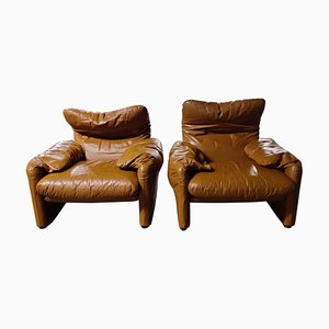 Leather Maralunga Armchairs by Vico Magistretti for Cassina, 1973, Set of 2