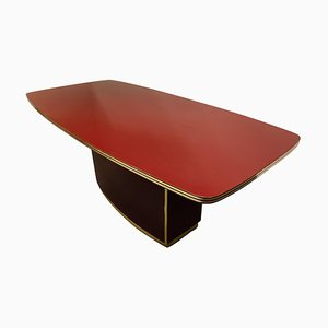 Vintage Red Lacquered Dining Table by Pierre Vandel, 1970s