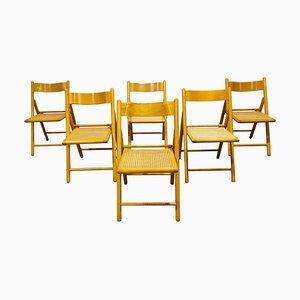 Chaises Pliantes Vintage en Rotin, 1960s, Set de 6