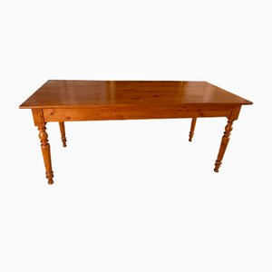 Antique French Provincial Farmhouse Dining Table in Fruitwood