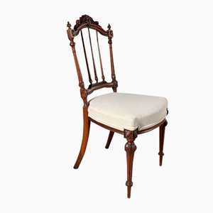 Antique French Carved Walnut Chair, 1860s